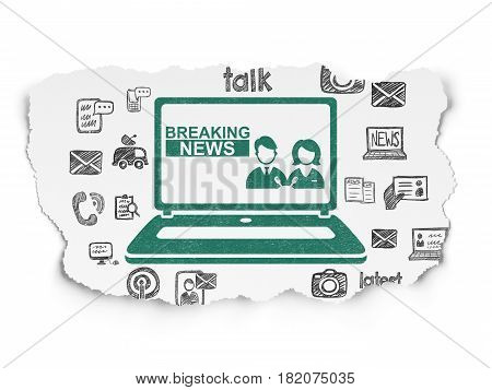 News concept: Painted green Breaking News On Laptop icon on Torn Paper background with  Hand Drawn News Icons