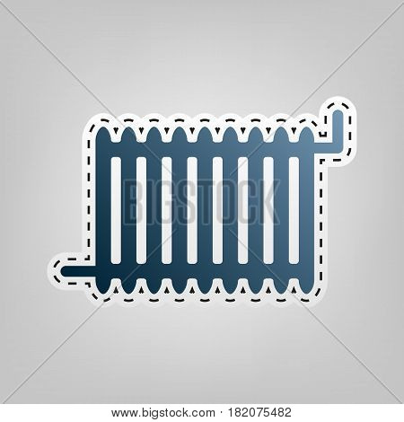 Radiator sign. Vector. Blue icon with outline for cutting out at gray background.
