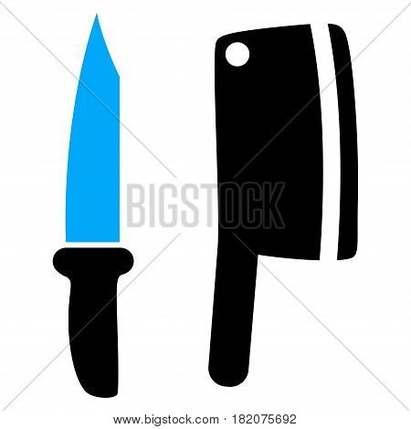 Butchery Knives vector pictogram. a flat isolated illustration on a white background.