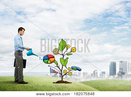 Handsome businessman presenting investment and financial growth concept