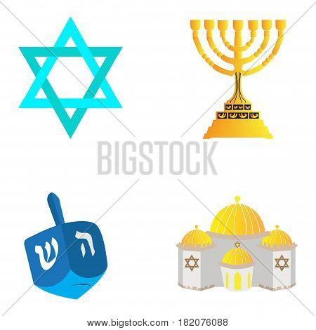 Set of traditional jewish related objects, Vector illustration
