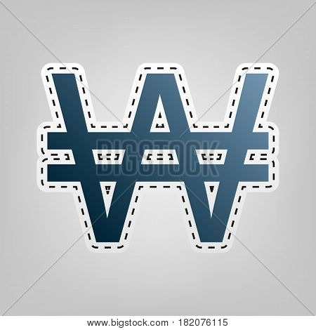 Won sign. Vector. Blue icon with outline for cutting out at gray background.