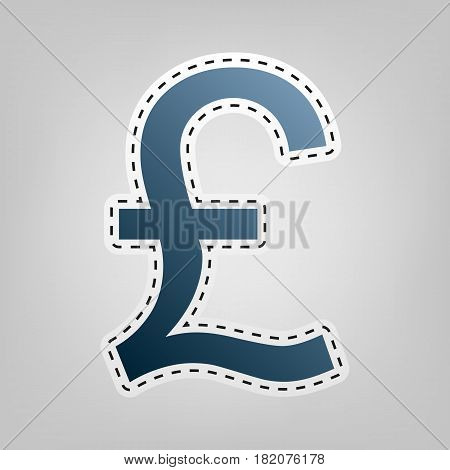 Turkish lira sign. Vector. Blue icon with outline for cutting out at gray background.