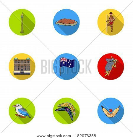 National symbols of australia. Web icon on Australia theme.Australia icon in set collection on flat style vector symbol stock web illustration.