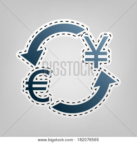 Currency exchange sign. Euro and Japan Yen. Vector. Blue icon with outline for cutting out at gray background.