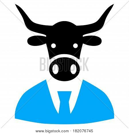 Cow Boss vector icon. a flat isolated illustration on a white background.