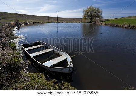 Old row boat in a small pond in eastern Washington.
