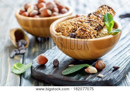 Cereal Bars With Hazelnuts,peanuts And Chocolate.