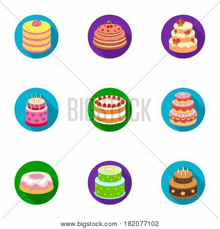 Cakes for the holidays. A set of different sweets. Beautifully decorated cakes and muffins.Cakes icon in set collection on flat style vector symbol stock web illustration.