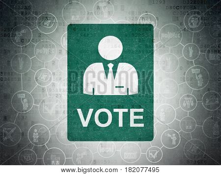 Political concept: Painted green Ballot icon on Digital Data Paper background with Scheme Of Hand Drawn Politics Icons