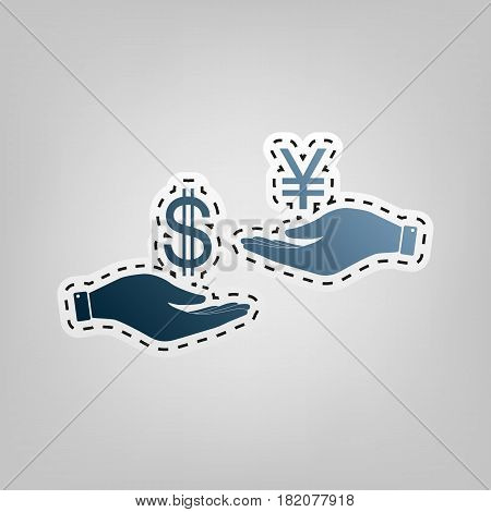 Currency exchange from hand to hand. Dollar and Yen. Vector. Blue icon with outline for cutting out at gray background.