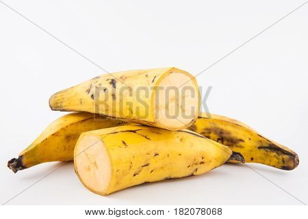 Plantain or Green Banana (Musa x paradisiaca) isolated in white background poster