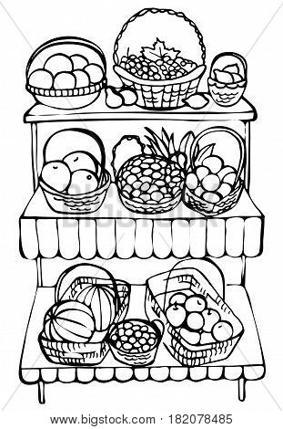 Hand drawn farmer stall. Local market, fruits and vegetables produce on stall with awning. Sketch illustration isolated on white background.