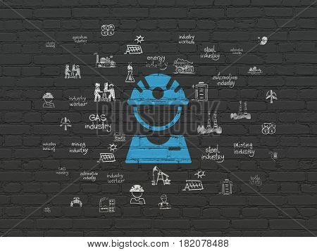 Industry concept: Painted blue Factory Worker icon on Black Brick wall background with  Hand Drawn Industry Icons