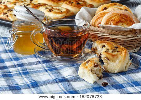 Good Morning. Good Mood. Freshly Baked Buns With Raisins. Tasty Bread And Fruit For Breakfast. Fresh