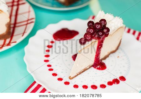 Dessert - Cheesecake with Berries Sauce and cranberries