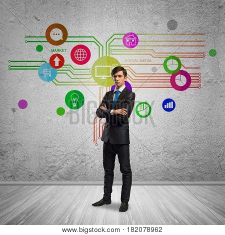 Thoughtful businessman and color application icons at background