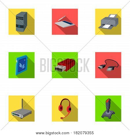 Computer accessories. Headphones, computer parts, accessories.Personal computer icon in set collection on flat style vector symbol stock web illustration.