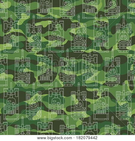 Seamless military pattern with tanks on camouflage background. Can be used for graphic design, textile design or web design.