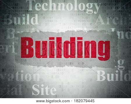 Construction concept: Painted red text Building on Digital Data Paper background with   Tag Cloud