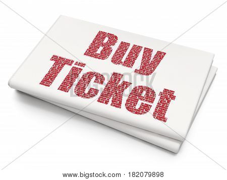 Travel concept: Pixelated red text Buy Ticket on Blank Newspaper background, 3D rendering