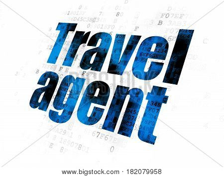 Travel concept: Pixelated blue text Travel Agent on Digital background