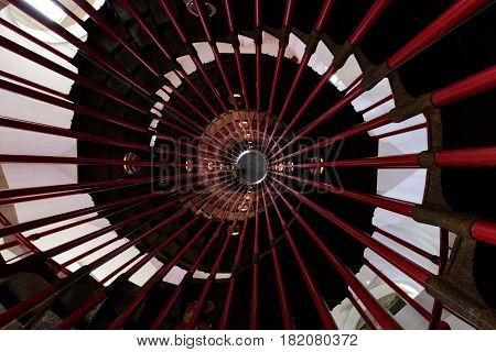 Inside view (spiral staircase) of the panoramic tower of Ljubljana Castle (Slovene: Ljubljanski grad) in Slovenia Republic
