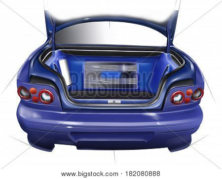 Outdoor trunk of sports car. Layout of the acoustic setup. Concept design. Illustration.