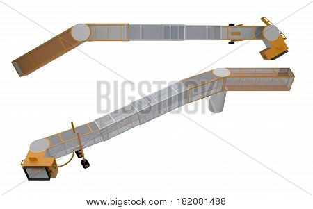 bridge for loading passengers on airplane isolated on white 3d rendering