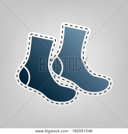 Socks sign. Vector. Blue icon with outline for cutting out at gray background.