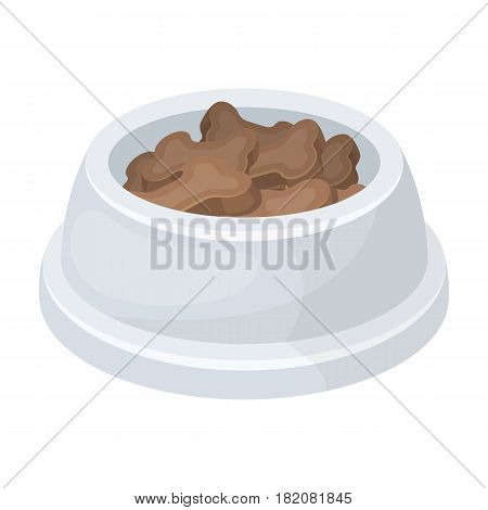 Bowl with food.Pet shop single icon in cartoon style vector symbol stock illustration .