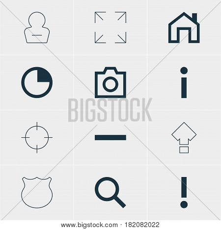 Vector Illustration Of 12 Interface Icons. Editable Pack Of Seek, Wide Monitor, Displacement And Other Elements.