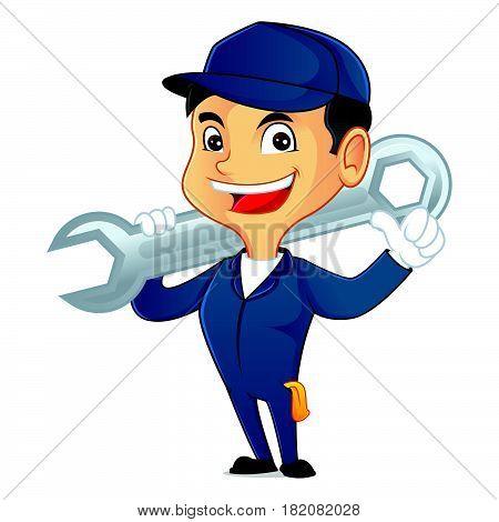 Mechanic Carrying Wrench