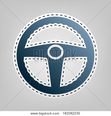 Car driver sign. Vector. Blue icon with outline for cutting out at gray background.