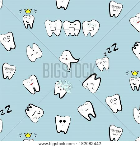 Vector teeth pattern. Tooth dental cartoon kids illustration. Medicine clinic hygiene cute texture. Hospital white decoration