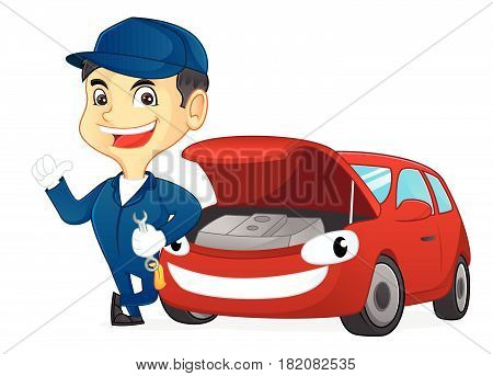 Mechanic Holding Wrench Leaning On Car