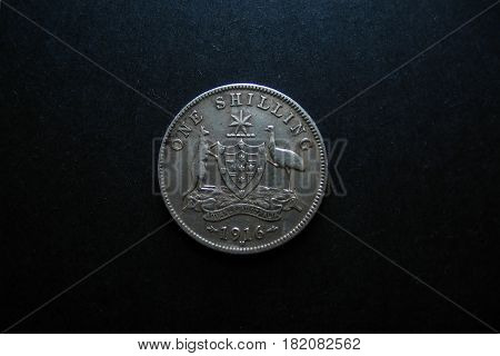 Pre decimal Vintage Australian silver One Shilling coin.