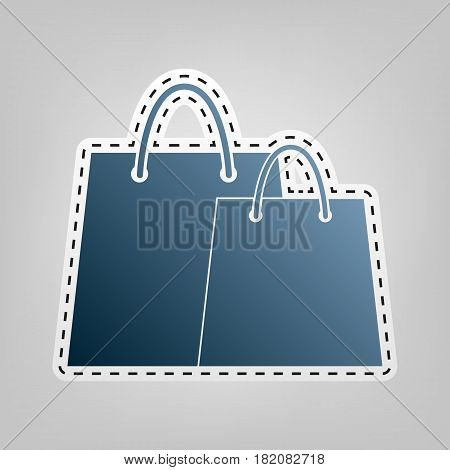 Shopping bags sign. Vector. Blue icon with outline for cutting out at gray background.