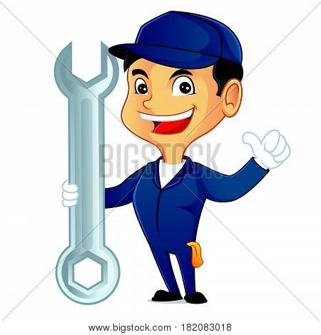 Mechanic Holding Tool And Smiling