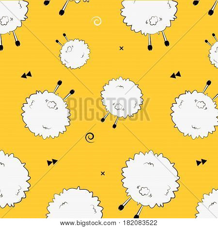 Vector illustration of domestic animal. Funny sheep back pattern for your design. Geometric sign with triangle arrows background in vector. Abstract cover print animal