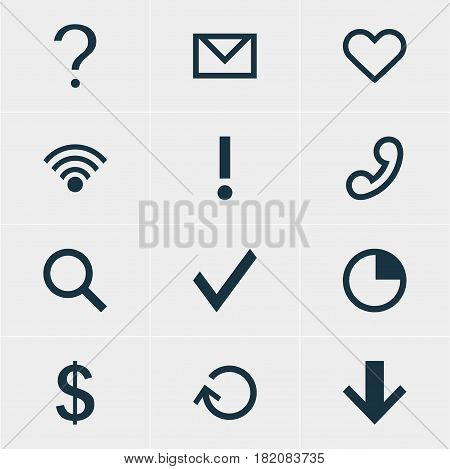 Vector Illustration Of 12 Interface Icons. Editable Pack Of Letter , Handset, Seek Elements.