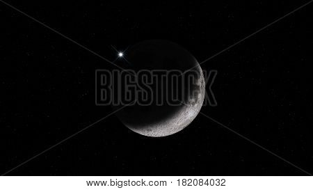 Moon and Star at Sky Realistic High Quality Background Illustration, Turkey and Muslim Countries Symbol, Crescent and Star