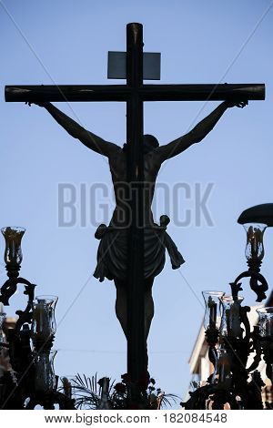 Figure of Jesus on the cross carved in wood - Holy Christ of the Estudiantes Linares Jaen province Spain