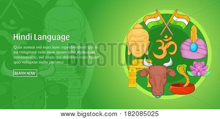 Hindi language horizontal concept. Cartoon illustration of hindi language banner horizontal vector for web