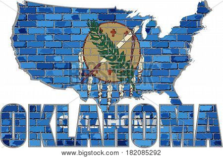 Oklahoma flag on a brick wall with effect - 3D Illustration