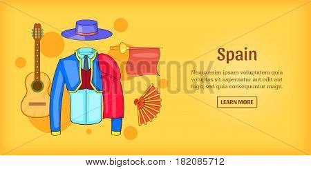 Spain banner horizontal concept corrida. Cartoon illustration of Spain corrida banner horizontal vector for web