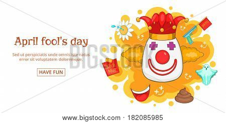 Fools day banner horizontal concept clown. Cartoon illustration of fools day clown banner horizontal vector for web