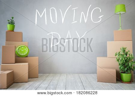 New home moving house day and real estate concept