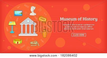 Museum banner horizontal concept. Cartoon illustration of museum banner horizontal vector for web