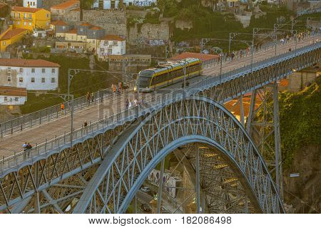 PORTO, PORTUGAL - APR 16, 2017: View of Dom Luis I bridge. City of Porto was elected from 20 selected Best European Destination 2017 and won this prestigious title.